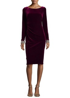 David Meister Long-Sleeve Velvet Dress W/ Beaded Cuffs  Long-Sleeve Velvet Dress W/ Beaded Cuffs
