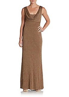 David Meister Lurex Draped Gown