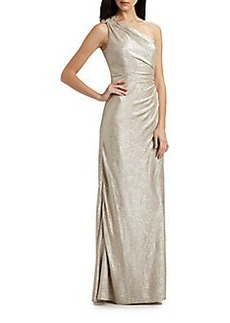 David Meister Matelasse One-Shoulder Gown