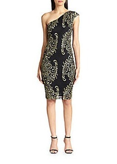 David Meister Metallic Embroidered Lace One-Shoulder Dress