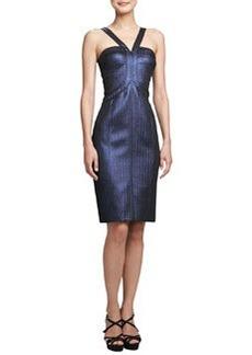 David Meister Metallic Halter Cocktail Dress