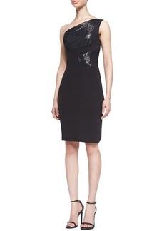David Meister Metallic-Inset One-Shoulder Dress