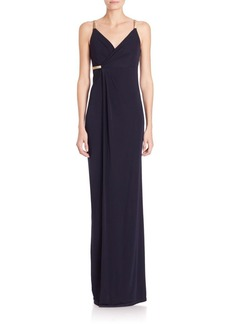 David Meister Metallic-Strap Jersey Wrap Gown