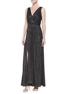 David Meister Metallic Striped Sleeveless Gown