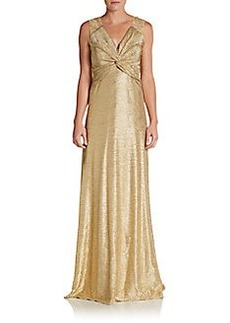 David Meister Metallic Twist-Front Gown