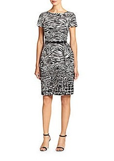David Meister Mixed-Print Boatneck Dress