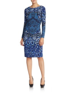 David Meister Mixed Print Jersey Dress