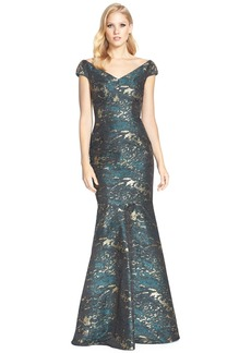 David Meister Off the Shoulder Jacquard Mermaid Gown