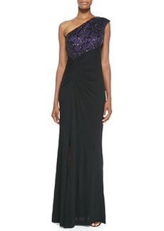 David Meister One-Shoulder Beaded-Angle Gown