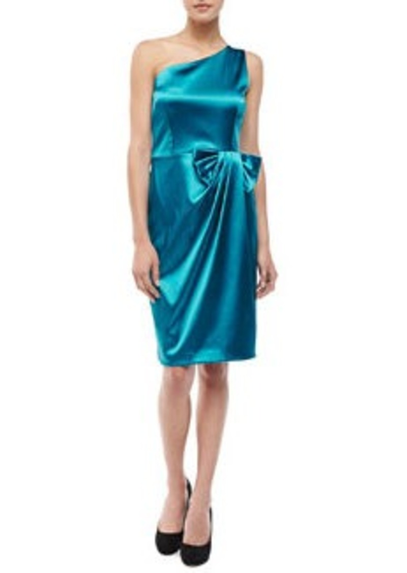 David Meister One-Shoulder Bow Dress