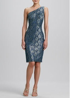 David Meister One-Shoulder Brocade Cocktail Dress