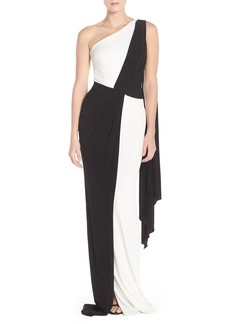 David Meister One Shoulder Colorblock Jersey Gown
