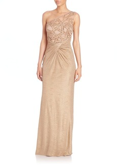 David Meister One-Shoulder Embellished Gown