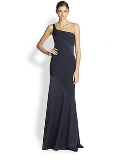 David Meister One-Shoulder Gown