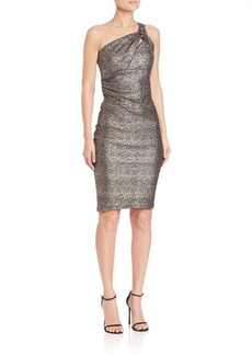David Meister One-Shoulder Metallic Knit Brooch Dress