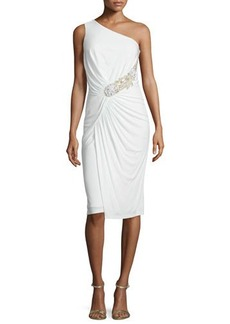 David Meister One-Shoulder Ruched Cocktail Dress  One-Shoulder Ruched Cocktail Dress