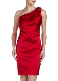 David Meister One-Shoulder Satin Cocktail Dress, Hibiscus
