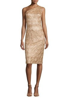 David Meister One-Shoulder Sequined Cocktail Dress