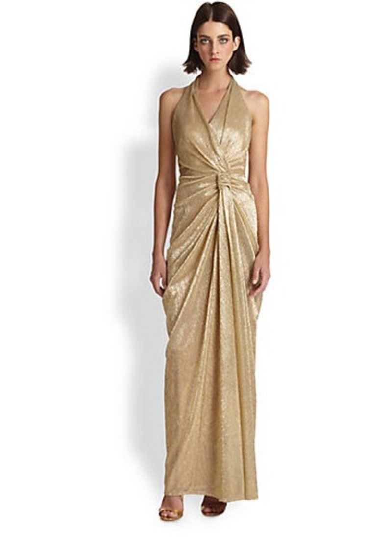 David Meister Pleated Halter Gown