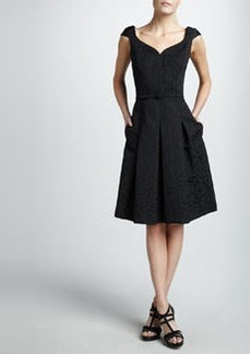 David Meister Portrait-Neck Textured Dress, Black