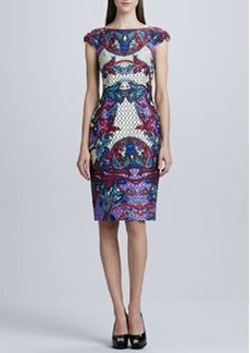 David Meister Printed Cap-Sleeve Dress