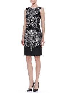 David Meister Printed Sleeveless Sheath Dress, Black-White