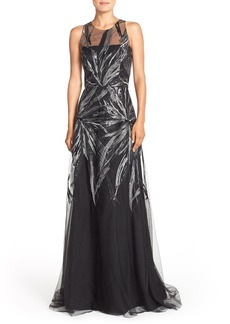 David Meister Sequin Embroidered Mesh Fit & Flare Gown
