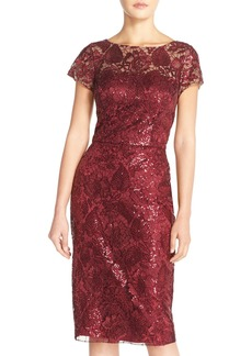 David Meister Sequin Embroidered Mesh Sheath Dress