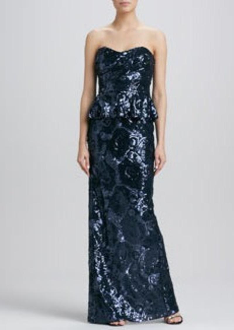 David Meister Sequined Floral Strapless Peplum Dress