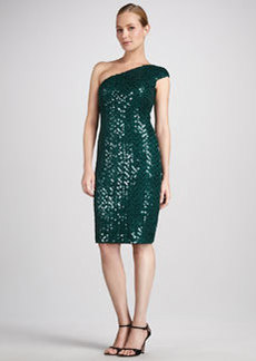 David Meister Sequined One-Shoulder Cocktail Dress