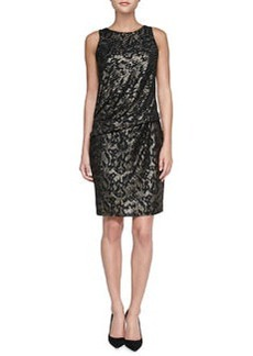 David Meister Sequined Panel Cocktail Dress, Black/Gold