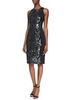 David Meister Sequined Panel Cocktail Dress, Black/Silver