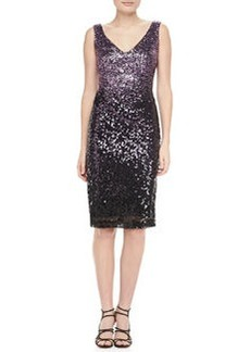 David Meister Sequined Sleeveless Sheath Cocktail Dress