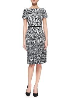 David Meister Short-Sleeve Animal-Pattern Belted Sheath Dress