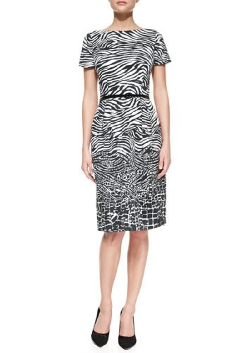 David Meister Short-Sleeve Animal-Pattern Belted Sheath Dress