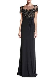 David Meister Short-Sleeve Beaded Bodice Column Gown  Short-Sleeve Beaded Bodice Column Gown