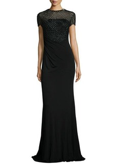 David Meister Short-Sleeve Beaded Bodice Gown  Short-Sleeve Beaded Bodice Gown