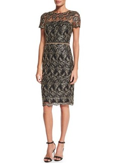 David Meister Short-Sleeve Embroidered Cocktail Dress  Short-Sleeve Embroidered Cocktail Dress