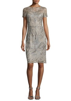 David Meister Short-Sleeve Embroidered Sheath Cocktail Dress  Short-Sleeve Embroidered Sheath Cocktail Dress