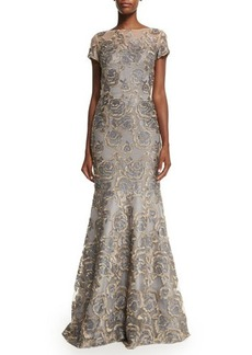 David Meister Short-Sleeve Floral Jacquard Mermaid Gown  Short-Sleeve Floral Jacquard Mermaid Gown