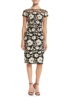 David Meister Short-Sleeve Floral Jacquard Sheath Cocktail Dress  Short-Sleeve Floral Jacquard Sheath Cocktail Dress