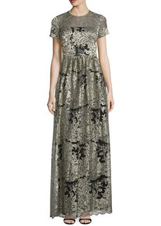 David Meister Short-Sleeve Floral Lace Gown  Short-Sleeve Floral Lace Gown