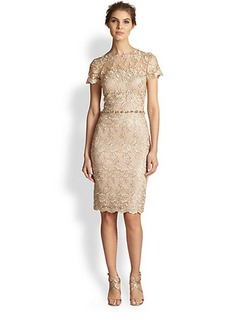David Meister Short-Sleeve Lace Dress