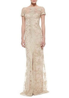 David Meister Short-Sleeve Lace Overlay Gown