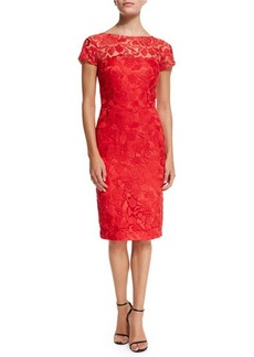 David Meister Short-Sleeve Lace Sheath Cocktail Dress  Short-Sleeve Lace Sheath Cocktail Dress