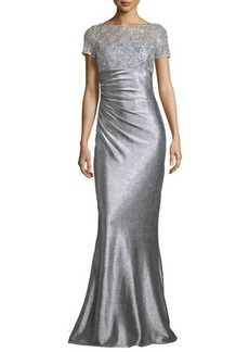 David Meister Short-Sleeve Sequined & Metallic Column Gown  Short-Sleeve Sequined & Metallic Column Gown