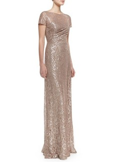 David Meister Short-Sleeve Sequined Lace Gown, Mauve/Silver