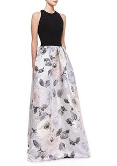 David Meister Signature Sleeveless Contrast Floral Skirt Gown, Black/Multicolor
