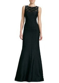 David Meister Signature Sleeveless Lace Illusion-Neck Gown