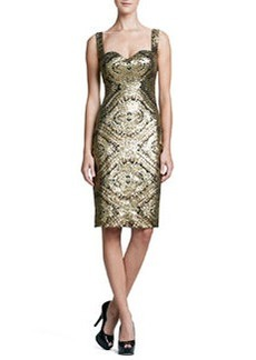 David Meister Sleeveless Baroque Sequined Cocktail Dress